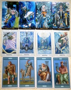 The Court cards for the cups in the Tarot Illuminati (top), Thoth Tarot (middle), and the Michelangelo Tarot (bottom)